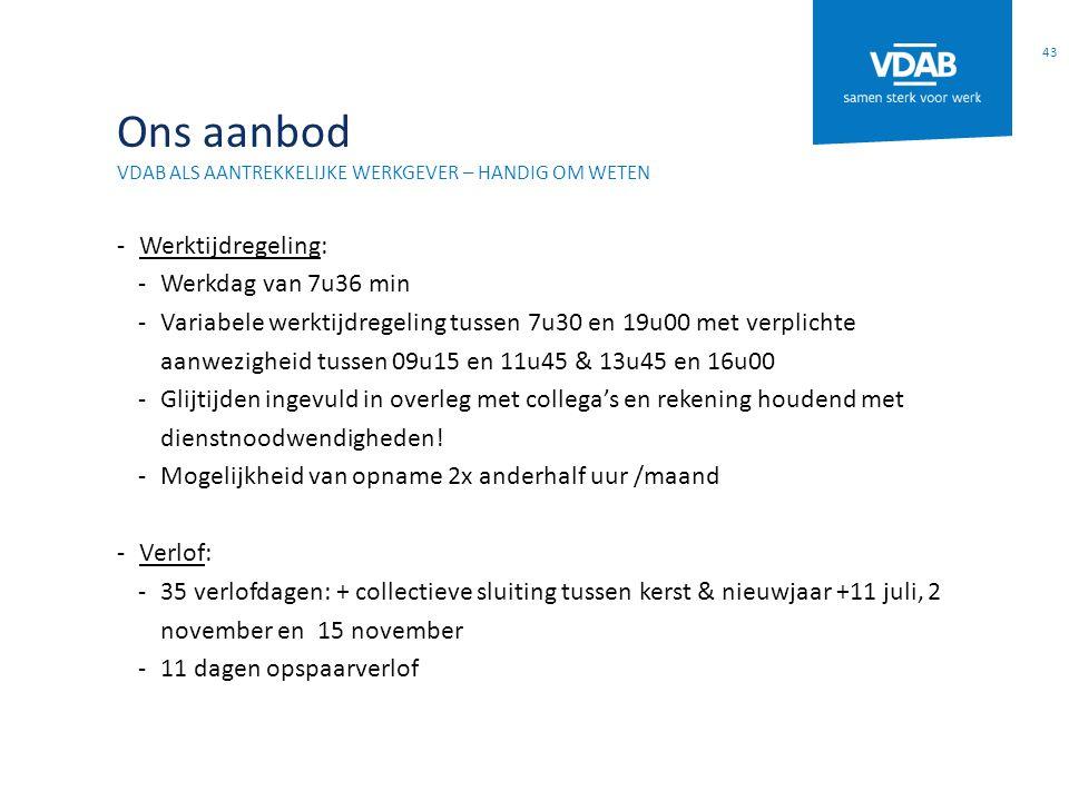 Ons aanbod VDAB ALS AANTREKKELIJKE WERKGEVER – HANDIG OM WETEN -Werktijdregeling: -Werkdag van 7u36 min -Variabele werktijdregeling tussen 7u30 en 19u