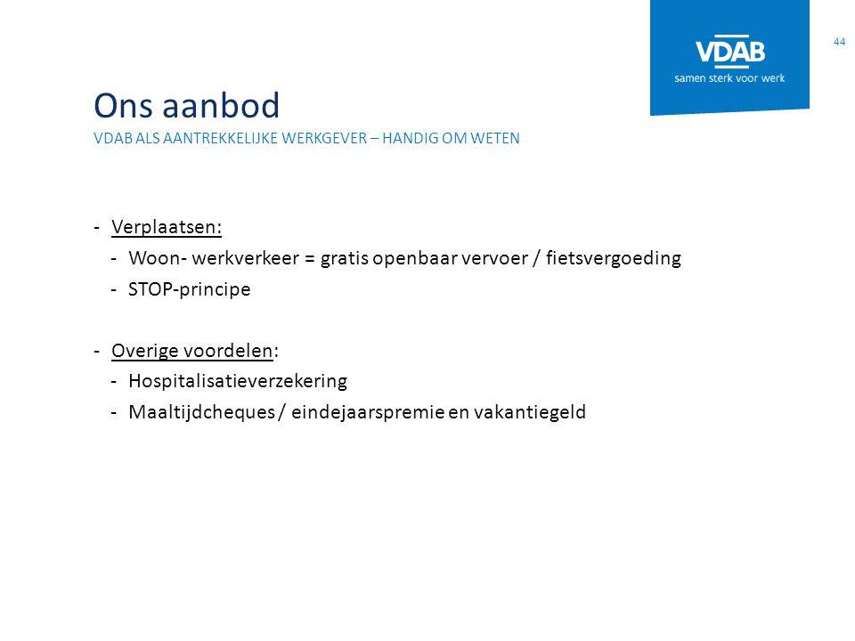 Ons aanbod VDAB ALS AANTREKKELIJKE WERKGEVER – HANDIG OM WETEN -Verplaatsen: -Woon- werkverkeer = gratis openbaar vervoer / fietsvergoeding -STOP-prin