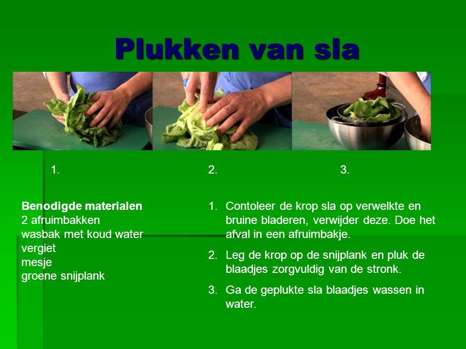 Plukken van sla Benodigde materialen 2 afruimbakken wasbak met koud water vergiet mesje groene snijplank 1.Contoleer de krop sla op verwelkte en bruin