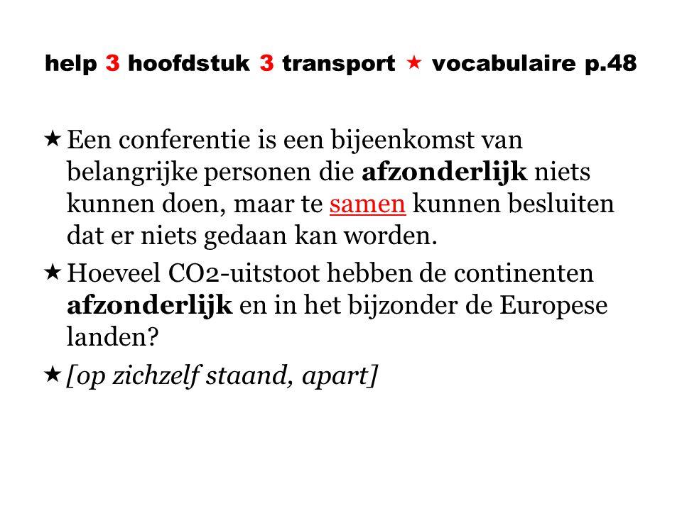 help 3 hoofdstuk 3 transport  vocabulaire p.48  Een conferentie is een bijeenkomst van belangrijke personen die afzonderlijk niets kunnen doen, maar te samen kunnen besluiten dat er niets gedaan kan worden.