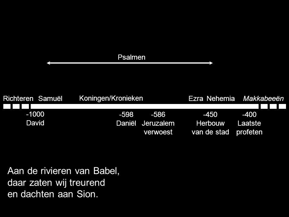 Samuël Koningen/Kronieken EzraNehemiaMakkabeeënRichteren -1000 David -400 Laatste profeten -598 Daniël -586 Jeruzalem verwoest Psalmen Aan de rivieren