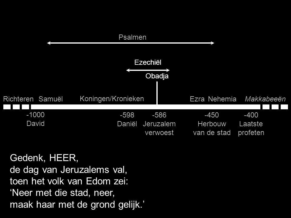 Samuël Koningen/Kronieken EzraNehemiaMakkabeeënRichteren -1000 David -400 Laatste profeten -598 Daniël -586 Jeruzalem verwoest Psalmen Gedenk, HEER, d