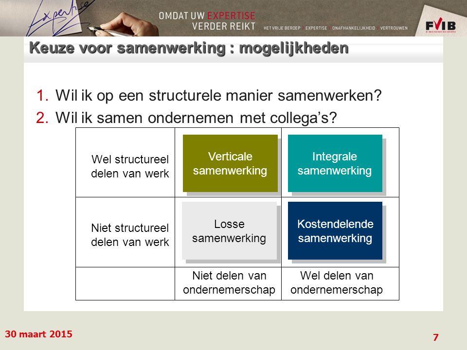 30 maart 2015 7 Keuze voor samenwerking : mogelijkheden 1.Wil ik op een structurele manier samenwerken.