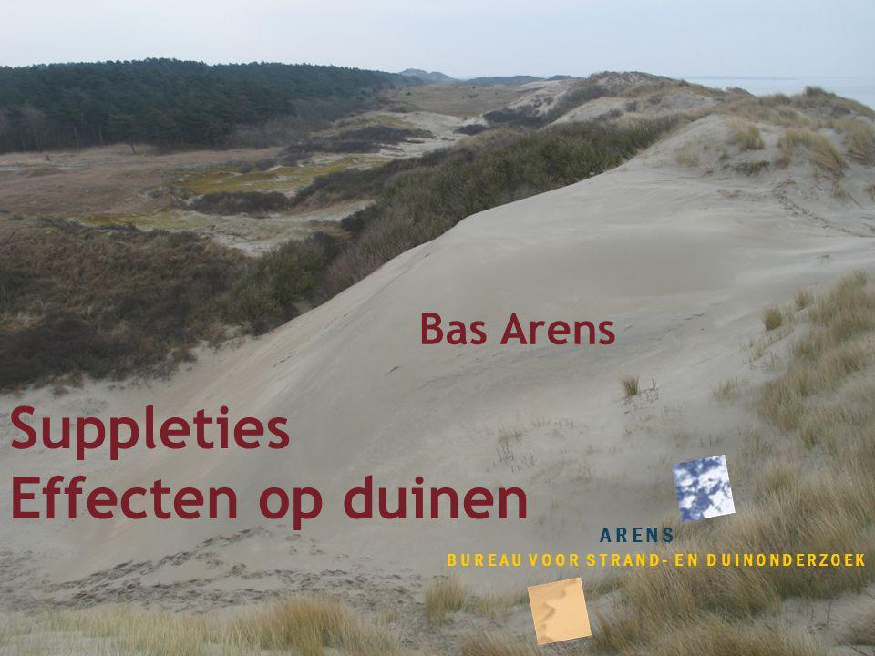 Suppleties Effecten op duinen ARENS BUREAU VOOR STRAND- EN DUINONDERZOEK Bas Arens