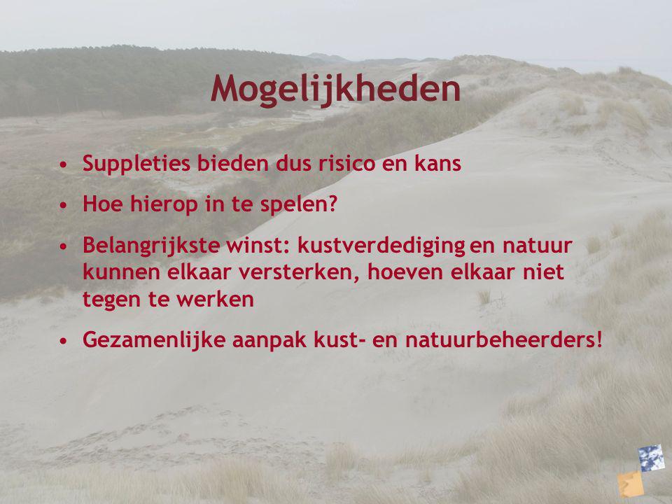 Mogelijkheden Suppleties bieden dus risico en kans Hoe hierop in te spelen? Belangrijkste winst: kustverdediging en natuur kunnen elkaar versterken, h