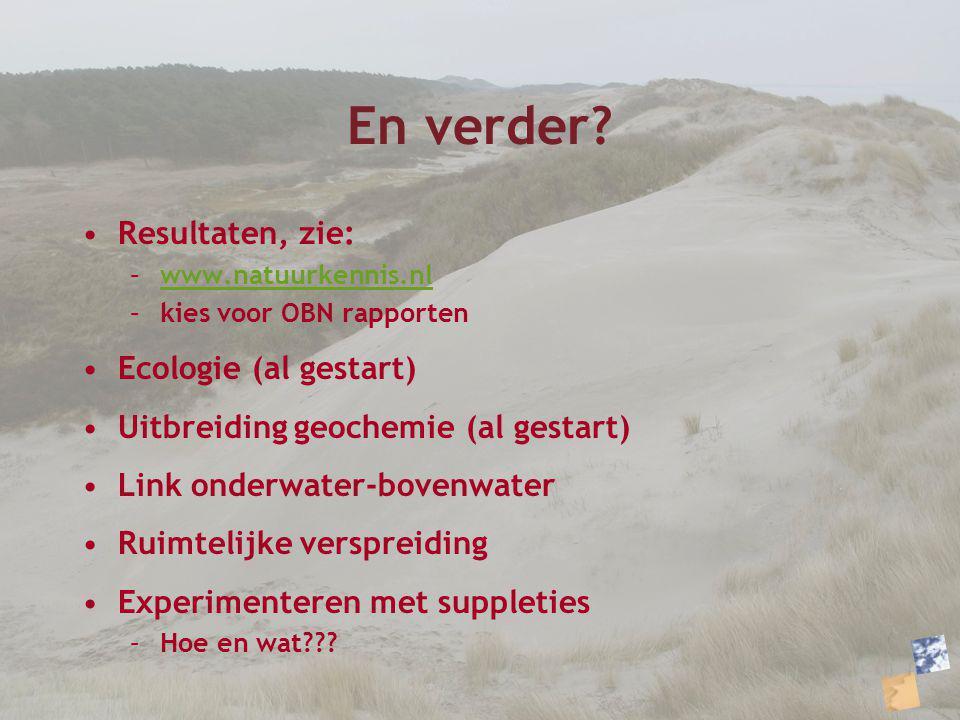 En verder? Resultaten, zie: –www.natuurkennis.nlwww.natuurkennis.nl –kies voor OBN rapporten Ecologie (al gestart) Uitbreiding geochemie (al gestart)