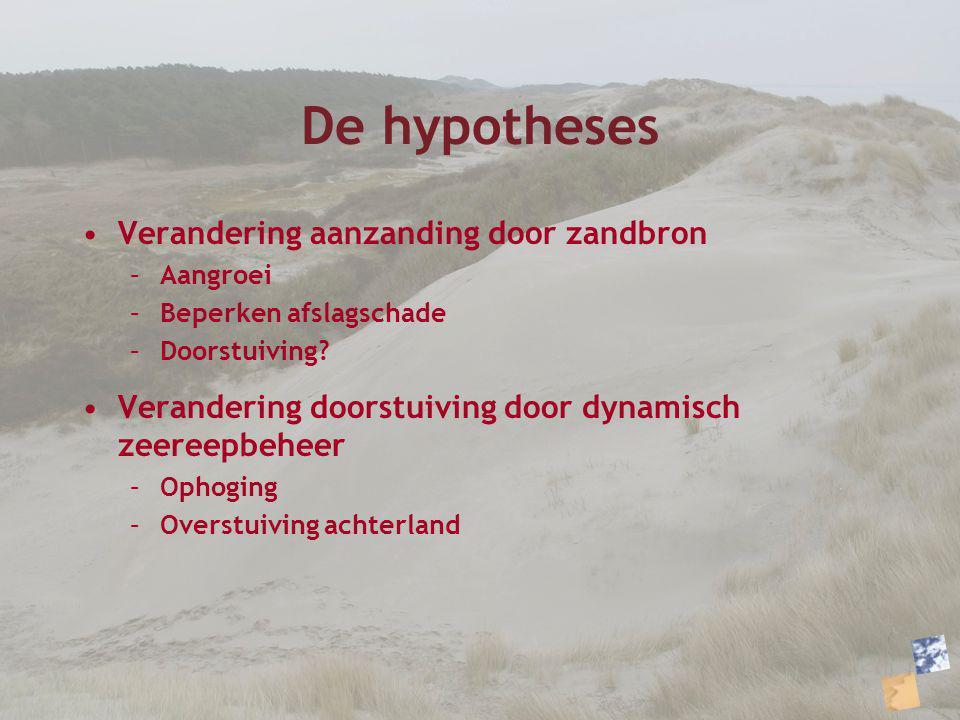 De hypotheses Verandering aanzanding door zandbron –Aangroei –Beperken afslagschade –Doorstuiving? Verandering doorstuiving door dynamisch zeereepbehe