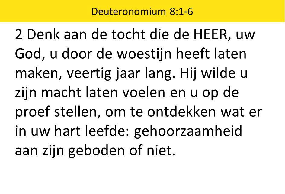 Deuteronomium 8:1-6 2 Denk aan de tocht die de HEER, uw God, u door de woestijn heeft laten maken, veertig jaar lang. Hij wilde u zijn macht laten voe