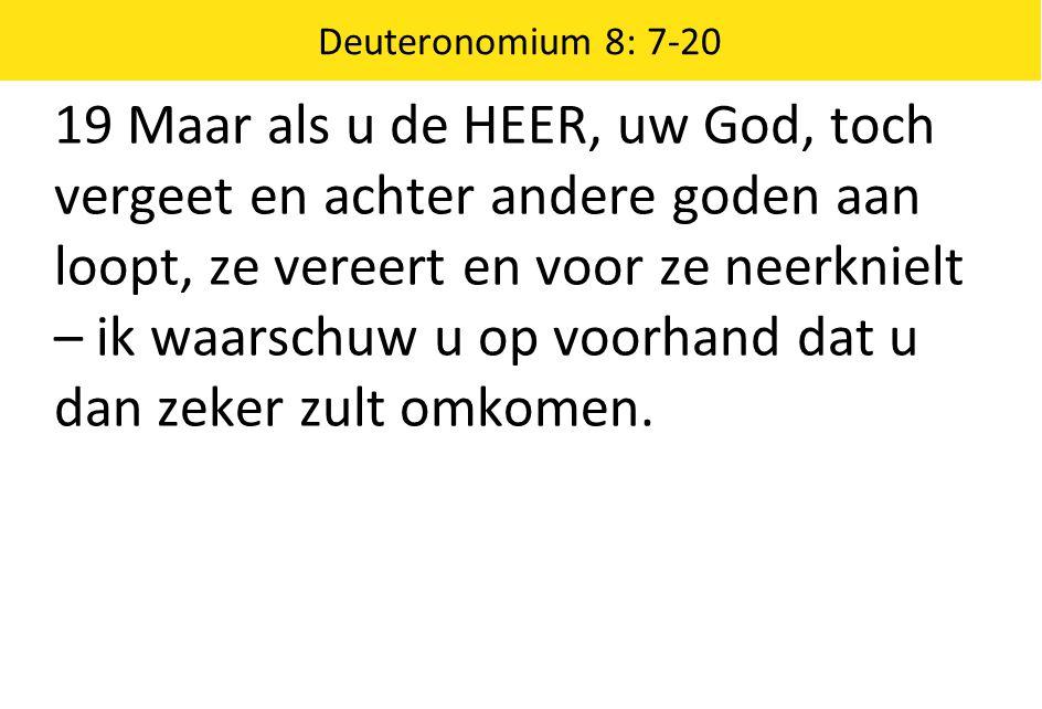 Deuteronomium 8: 7-20 19 Maar als u de HEER, uw God, toch vergeet en achter andere goden aan loopt, ze vereert en voor ze neerknielt – ik waarschuw u