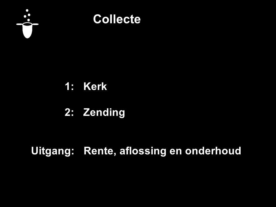 Collecte 1:Kerk 2:Zending Uitgang: Rente, aflossing en onderhoud Vandaag bestemd voor:
