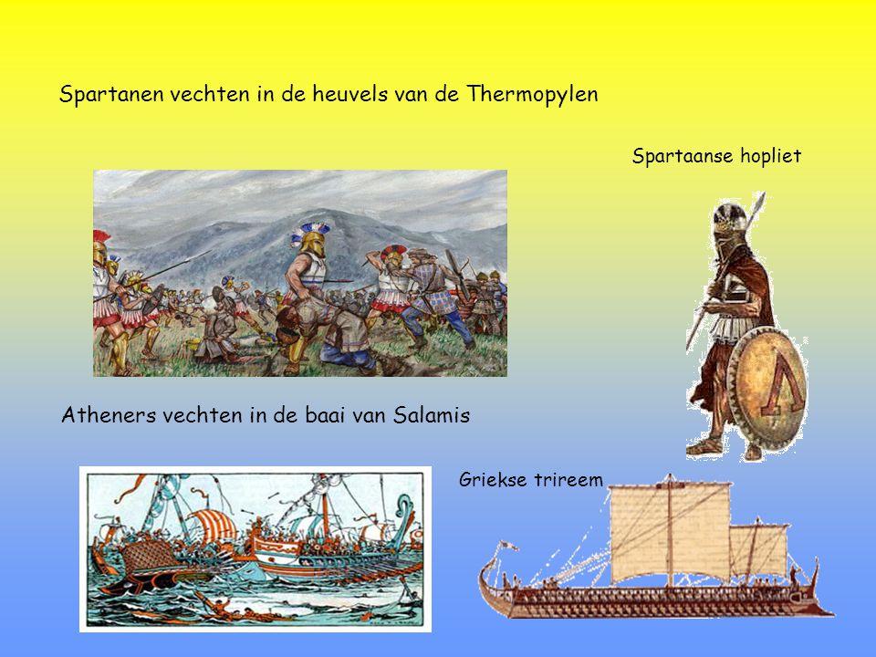 Perzen verslaan Spartanen in de Thermopylen......maar Athene kan de Perzen verslaan in de baai van Salamis.