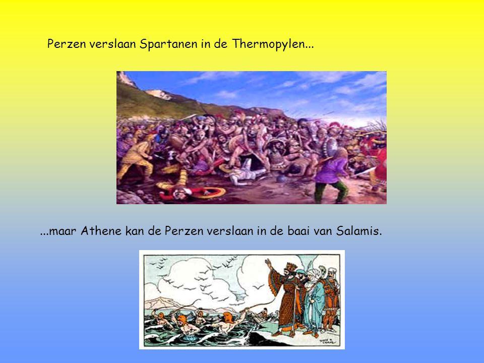 479 v.C.: Derde strijd in Plataea  Sparta tegen Perzische leger De Spartanen nemen wraak voor de nederlaag in de Thermopylen......en verslaan het Perzische leger in Plataea.
