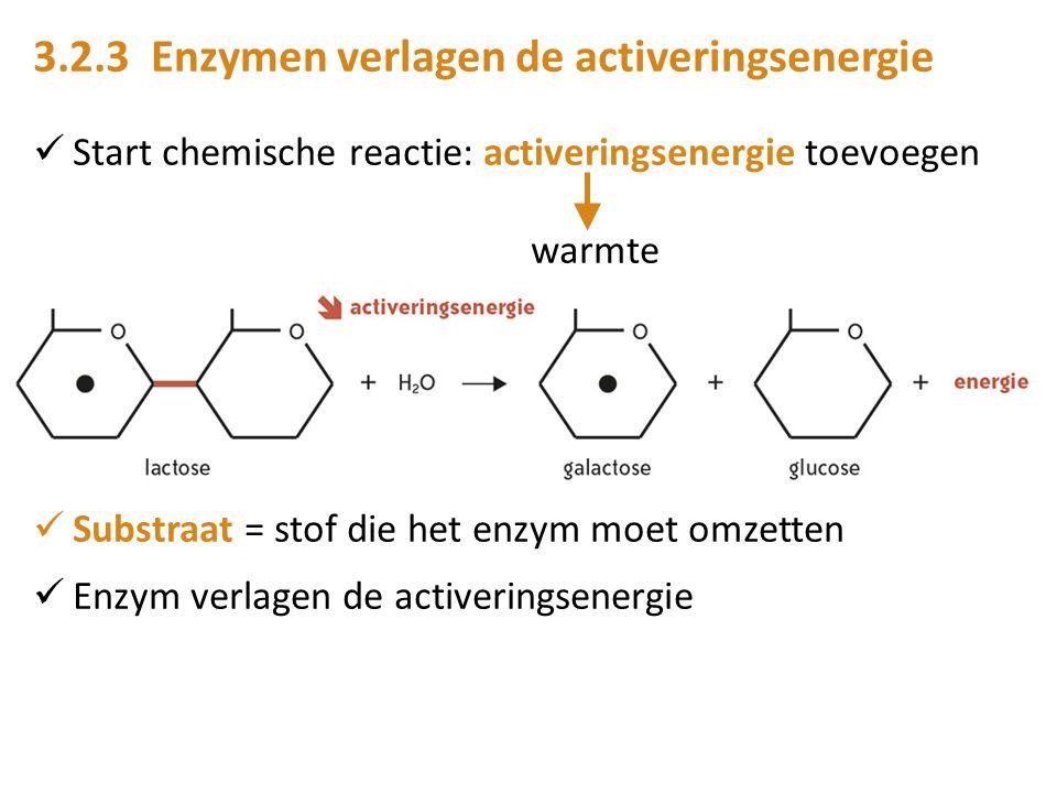 3.2.3 Enzymen verlagen de activeringsenergie Start chemische reactie: activeringsenergie toevoegen warmte Substraat = stof die het enzym moet omzetten