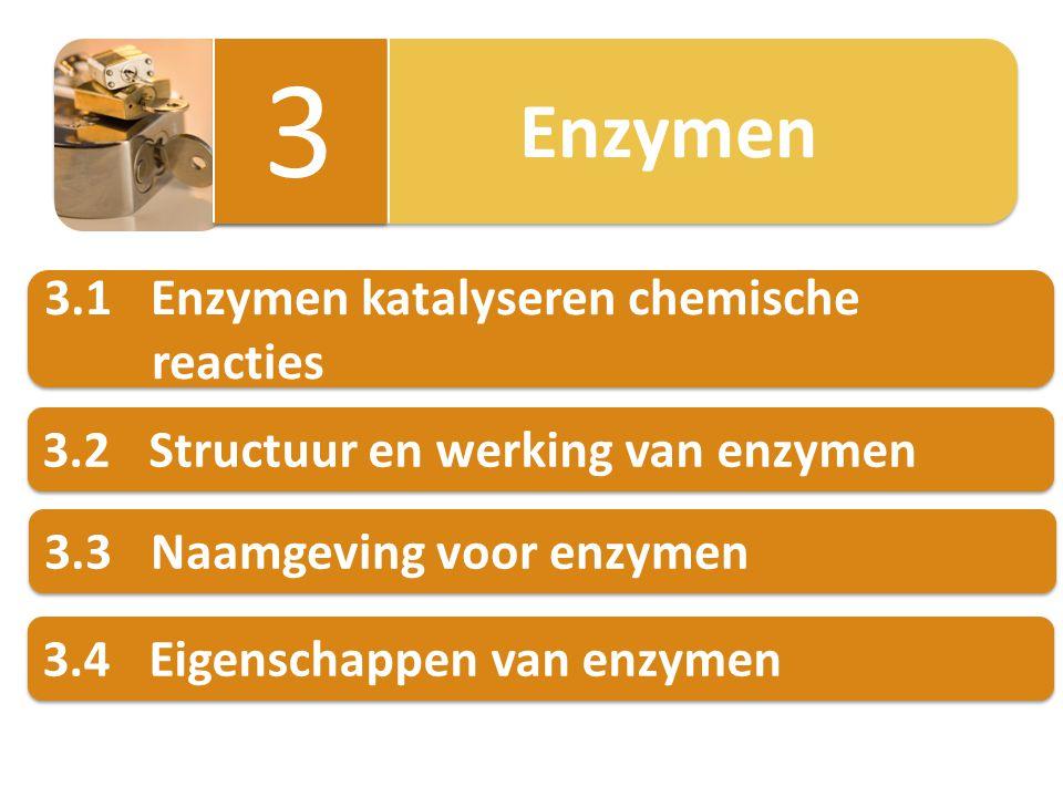 3.4.2 Enzymen zijn reactiespecifiek eenzelfde substraat verschillende reacties door verschillende enzymen Voorbeeld enzym 1 glucose + fructosesacharose + water enzym 2 glucose + fosfaatgroepglucosefosfaat Enzymen zijn reactiespecifiek