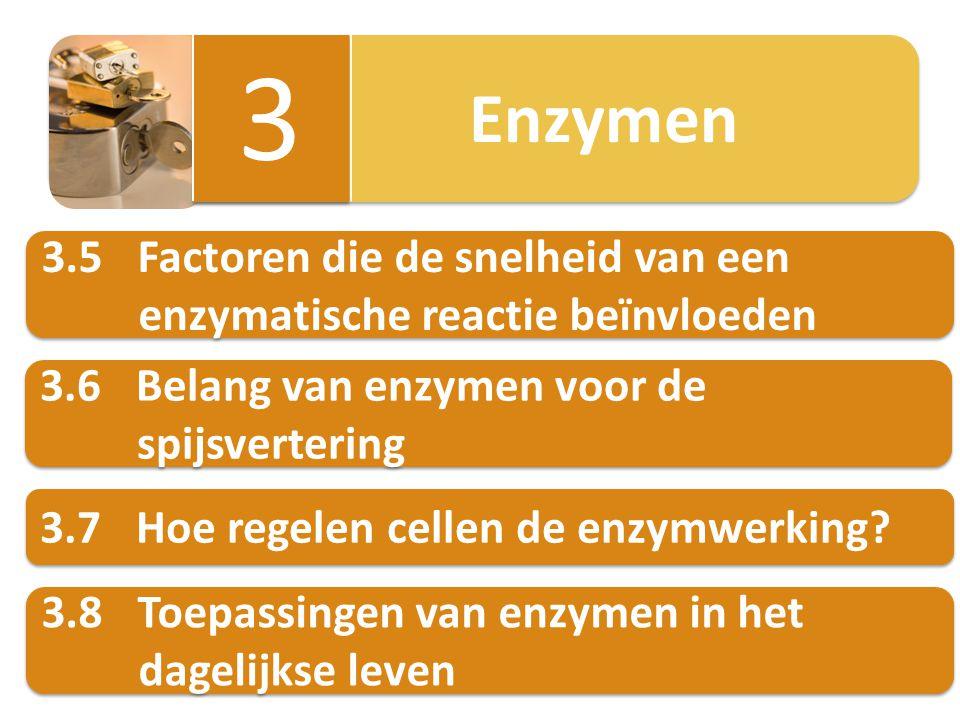Enzymen 3 3 3.6Belang van enzymen voor de spijsvertering 3.6Belang van enzymen voor de spijsvertering 3.7Hoe regelen cellen de enzymwerking? 3.8Toepas