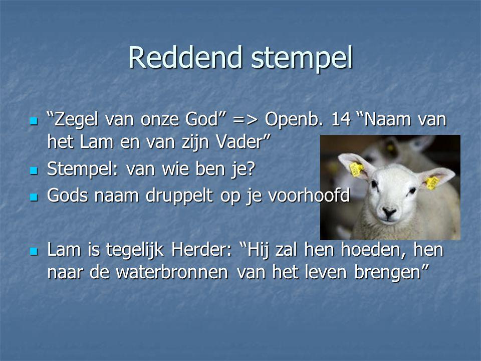 Reddend stempel Zegel van onze God => Openb.