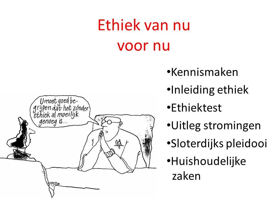 Ethiek van nu voor nu Kennismaken Inleiding ethiek Ethiektest Uitleg stromingen Sloterdijks pleidooi Huishoudelijke zaken