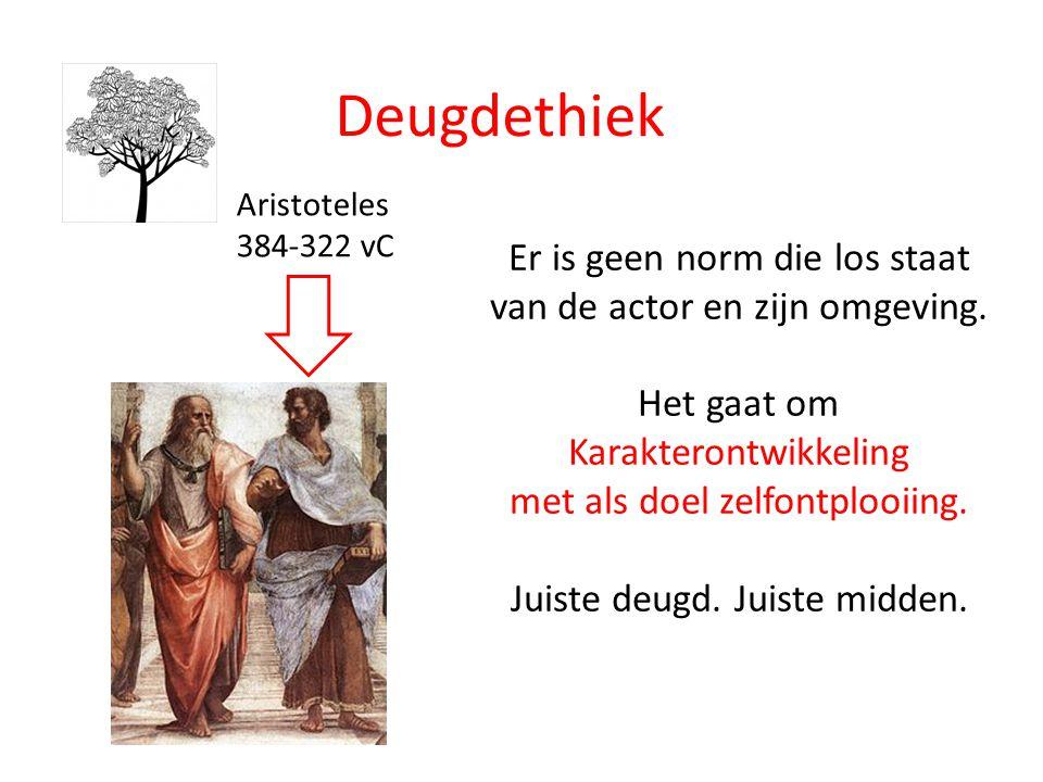 Deugdethiek Aristoteles 384-322 vC Er is geen norm die los staat van de actor en zijn omgeving.