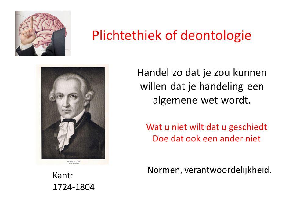 Plichtethiek of deontologie Kant: 1724-1804 Handel zo dat je zou kunnen willen dat je handeling een algemene wet wordt.