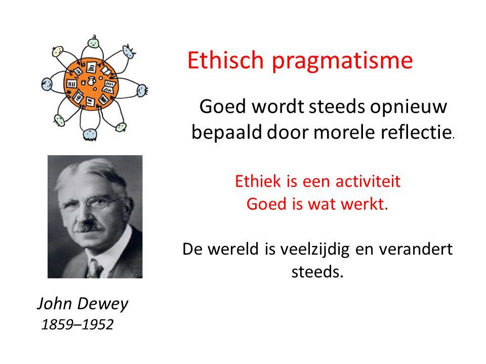 Ethisch pragmatisme Ethiek is een activiteit Goed is wat werkt.