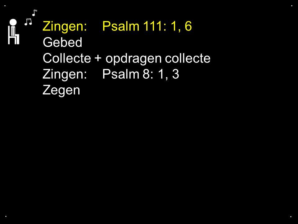 .... Zingen:Psalm 111: 1, 6 Gebed Collecte + opdragen collecte Zingen:Psalm 8: 1, 3 Zegen