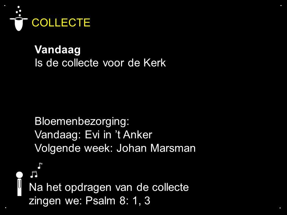 .... COLLECTE Vandaag Is de collecte voor de Kerk Na het opdragen van de collecte zingen we: Psalm 8: 1, 3 Bloemenbezorging: Vandaag: Evi in 't Anker