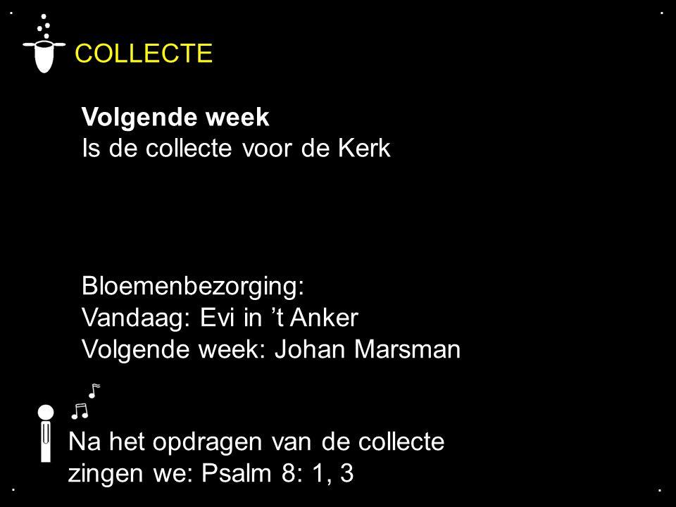 .... COLLECTE Volgende week Is de collecte voor de Kerk Bloemenbezorging: Vandaag: Evi in 't Anker Volgende week: Johan Marsman Na het opdragen van de