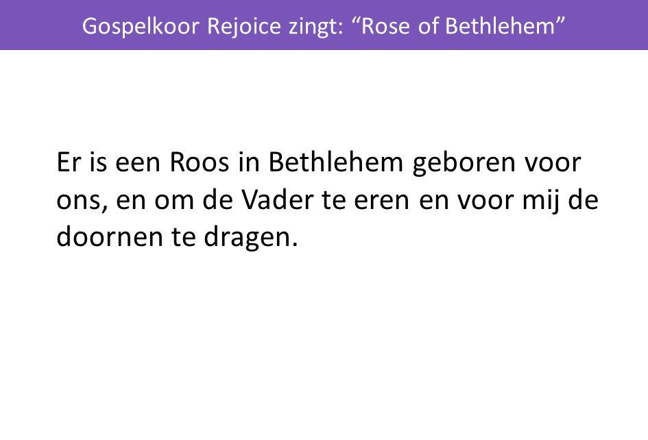 """Gospelkoor Rejoice zingt: """"Rose of Bethlehem"""" Er is een Roos in Bethlehem geboren voor ons, en om de Vader te eren en voor mij de doornen te dragen."""