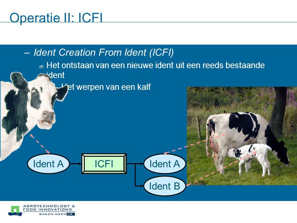 Operatie II: ICFI –Ident Creation From Ident (ICFI)  Het ontstaan van een nieuwe ident uit een reeds bestaande ident –Het werpen van een kalf ICFIIde