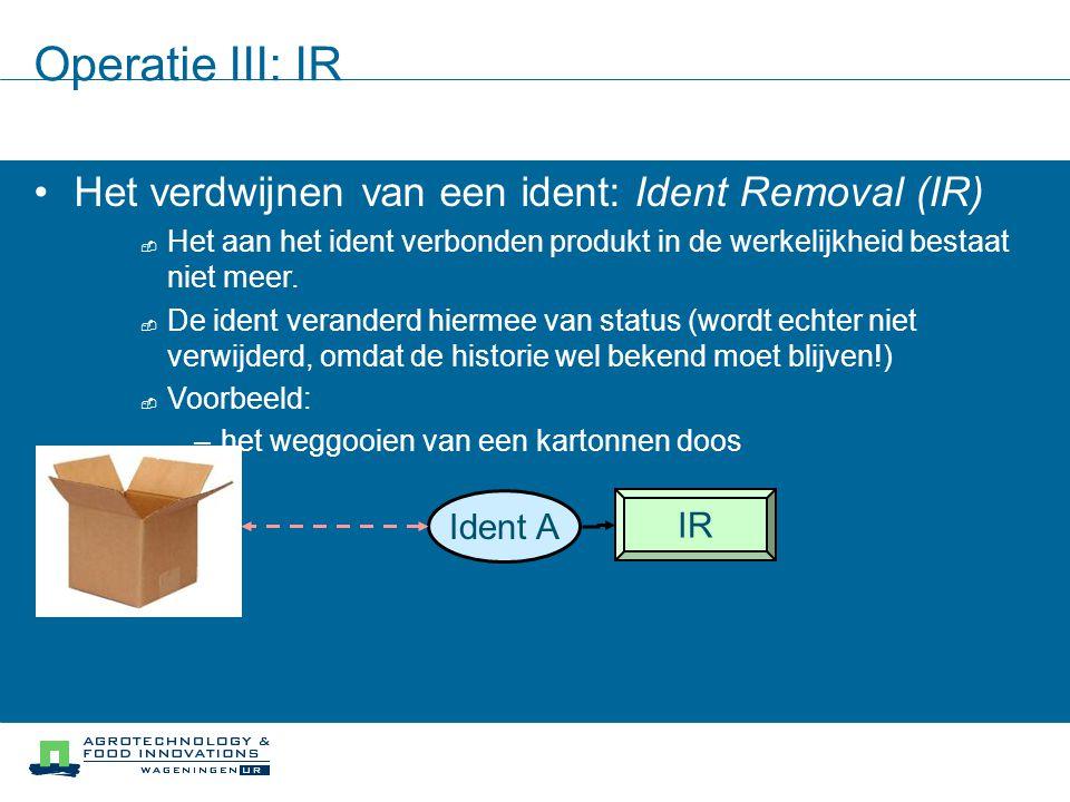 Operatie III: IR Het verdwijnen van een ident: Ident Removal (IR)  Het aan het ident verbonden produkt in de werkelijkheid bestaat niet meer.  De id