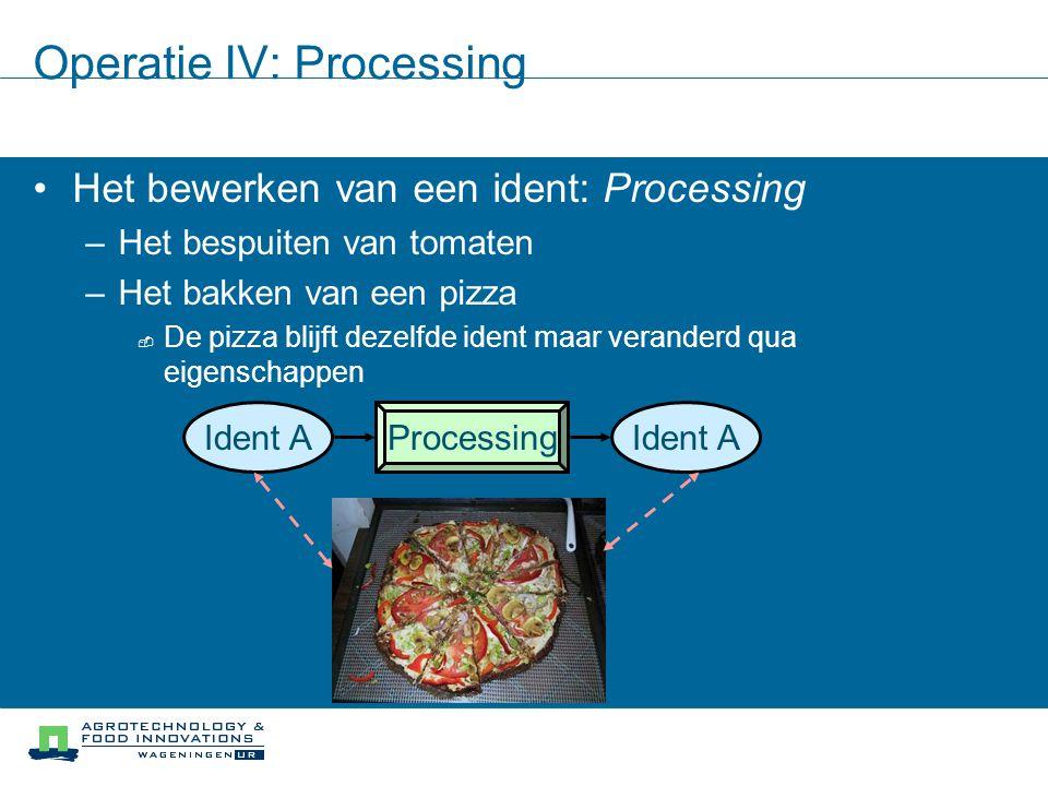 Operatie IV: Processing Het bewerken van een ident: Processing –Het bespuiten van tomaten –Het bakken van een pizza  De pizza blijft dezelfde ident m