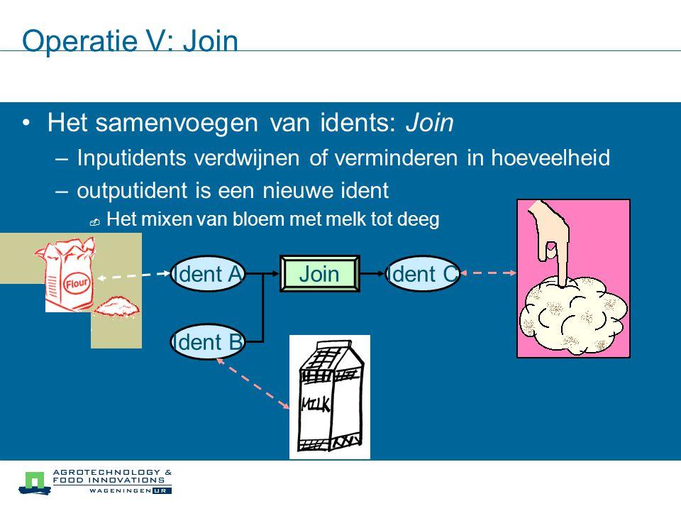 Operatie V: Join Het samenvoegen van idents: Join –Inputidents verdwijnen of verminderen in hoeveelheid –outputident is een nieuwe ident  Het mixen v