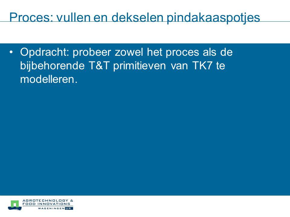 Proces: vullen en dekselen pindakaaspotjes Opdracht: probeer zowel het proces als de bijbehorende T&T primitieven van TK7 te modelleren.