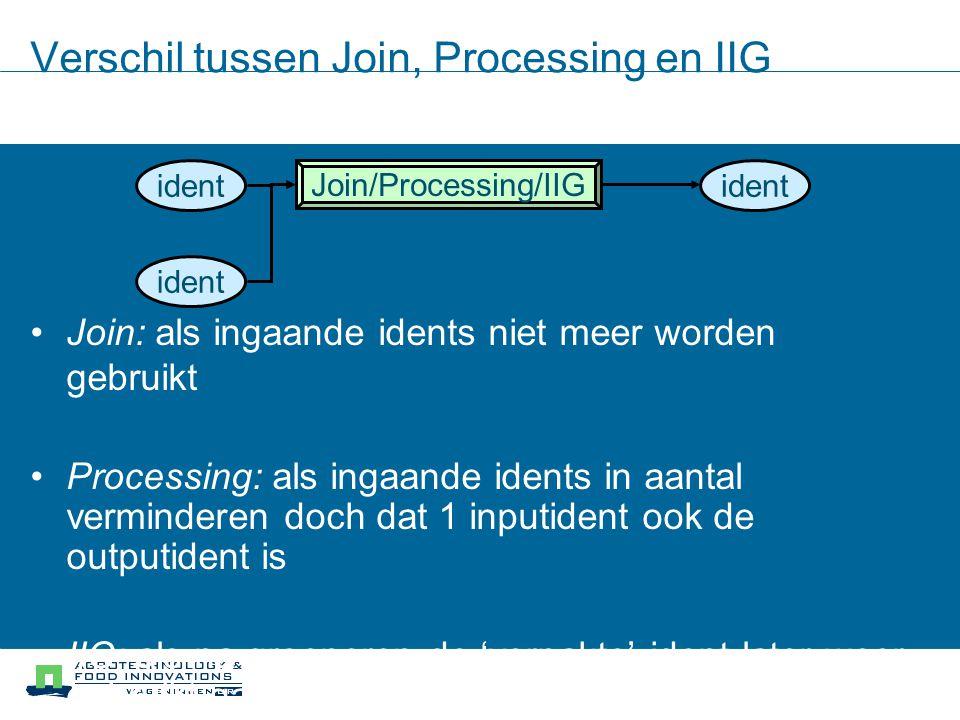 Verschil tussen Join, Processing en IIG Join: als ingaande idents niet meer worden gebruikt Processing: als ingaande idents in aantal verminderen doch