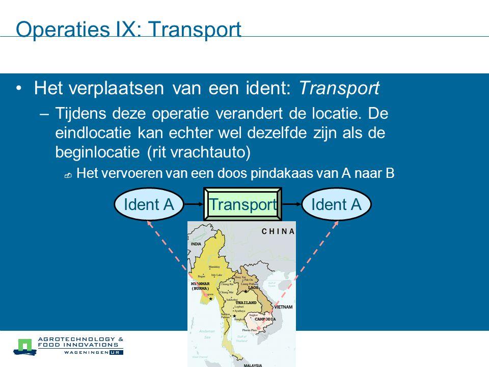 Operaties IX: Transport Het verplaatsen van een ident: Transport –Tijdens deze operatie verandert de locatie. De eindlocatie kan echter wel dezelfde z