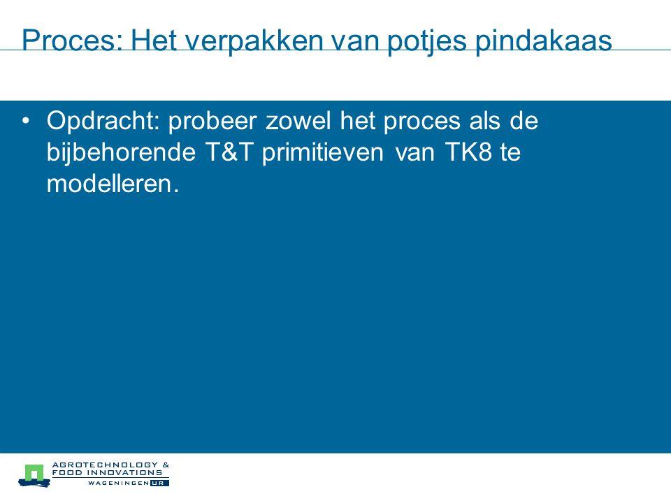 Proces: Het verpakken van potjes pindakaas Opdracht: probeer zowel het proces als de bijbehorende T&T primitieven van TK8 te modelleren.