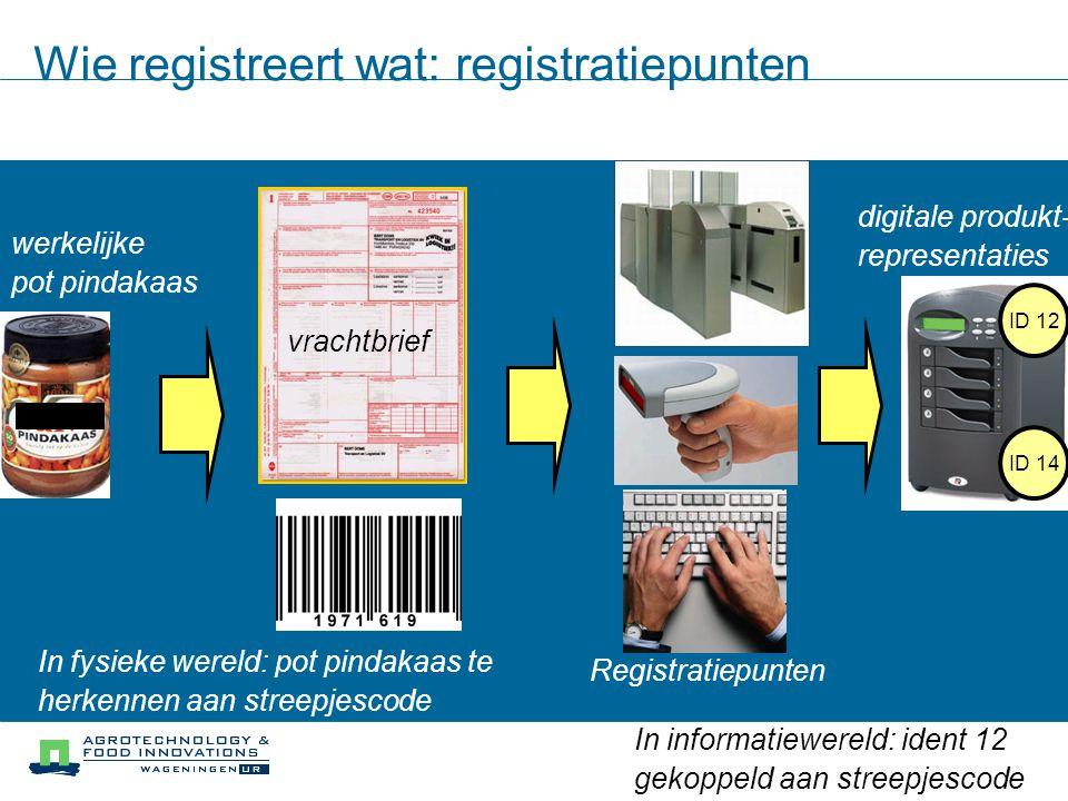 Registratiepunten in produktieproces Automatische registratie in en uitgaande idents: –Aan produktiemachine een barcodeleespoortje die automatisch voorbijgaande barcodes scant, en dus weet wat wanneer waar was.