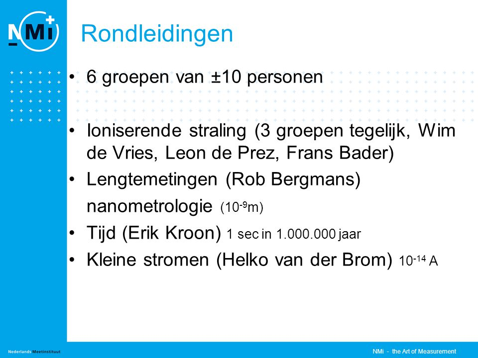 NMi - the Art of Measurement Rondleidingen 6 groepen van ±10 personen Ioniserende straling (3 groepen tegelijk, Wim de Vries, Leon de Prez, Frans Bader) Lengtemetingen (Rob Bergmans) nanometrologie (10 -9 m) Tijd (Erik Kroon) 1 sec in 1.000.000 jaar Kleine stromen (Helko van der Brom) 10 -14 A