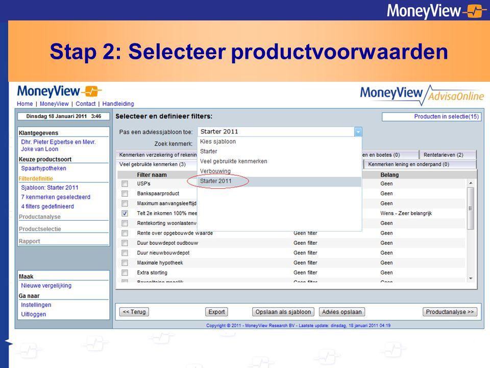 Stap 2: Selecteer productvoorwaarden