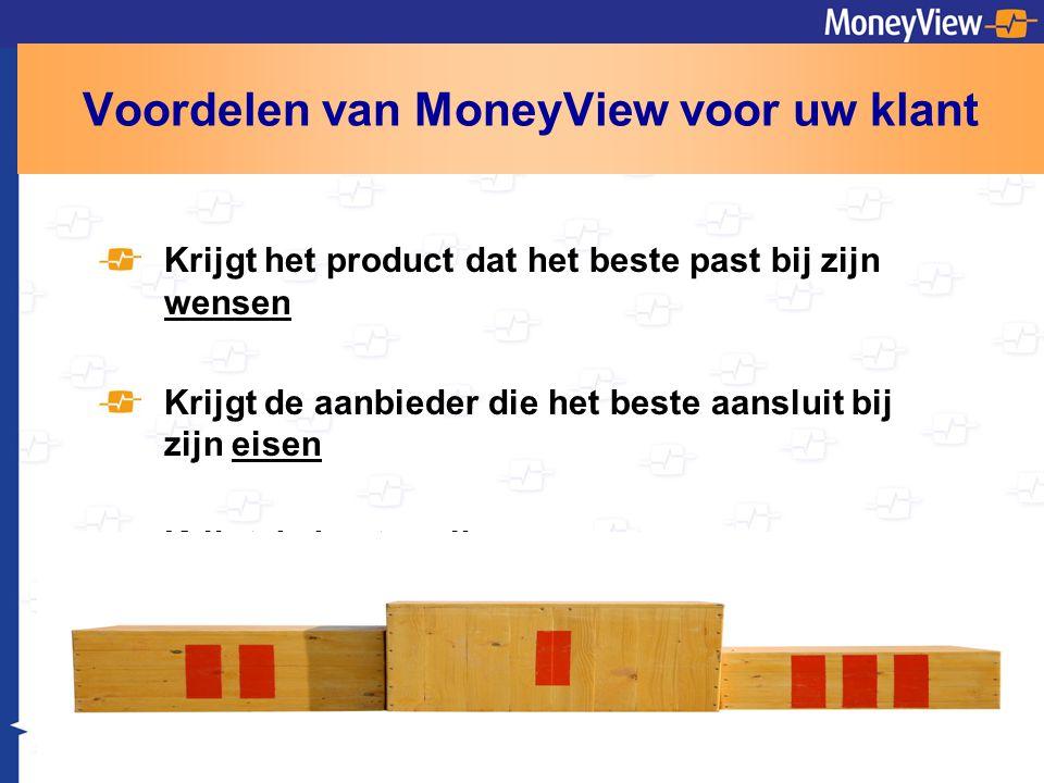 Voordelen van MoneyView voor uw klant Krijgt het product dat het beste past bij zijn wensen Krijgt de aanbieder die het beste aansluit bij zijn eisen Krijgt de beste prijs