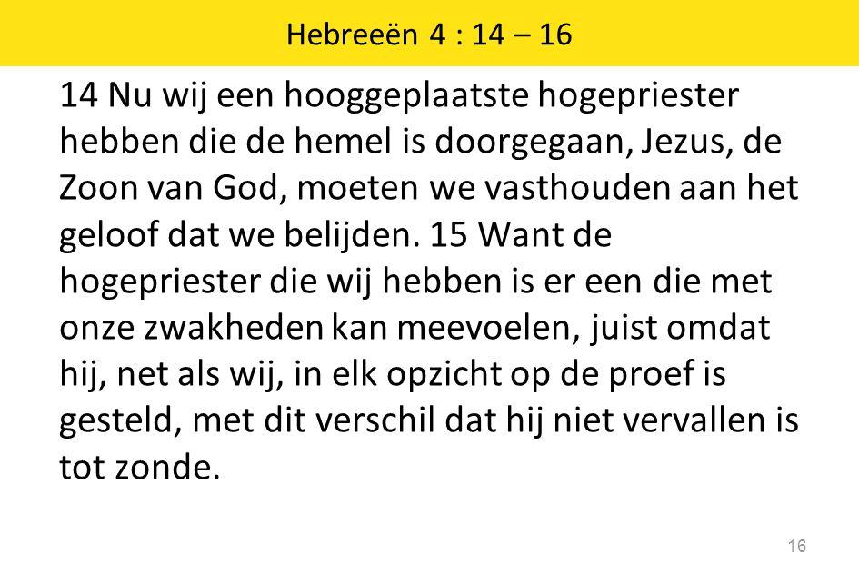 14 Nu wij een hooggeplaatste hogepriester hebben die de hemel is doorgegaan, Jezus, de Zoon van God, moeten we vasthouden aan het geloof dat we belijd