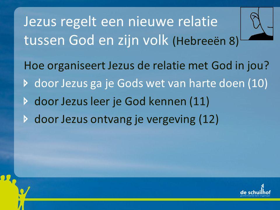 Jezus regelt een nieuwe relatie tussen God en zijn volk (Hebreeën 8) Hoe organiseert Jezus de relatie met God in jou? door Jezus ga je Gods wet van ha