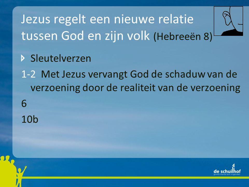 Jezus regelt een nieuwe relatie tussen God en zijn volk (Hebreeën 8) Sleutelverzen 1-2 Met Jezus vervangt God de schaduw van de verzoening door de rea