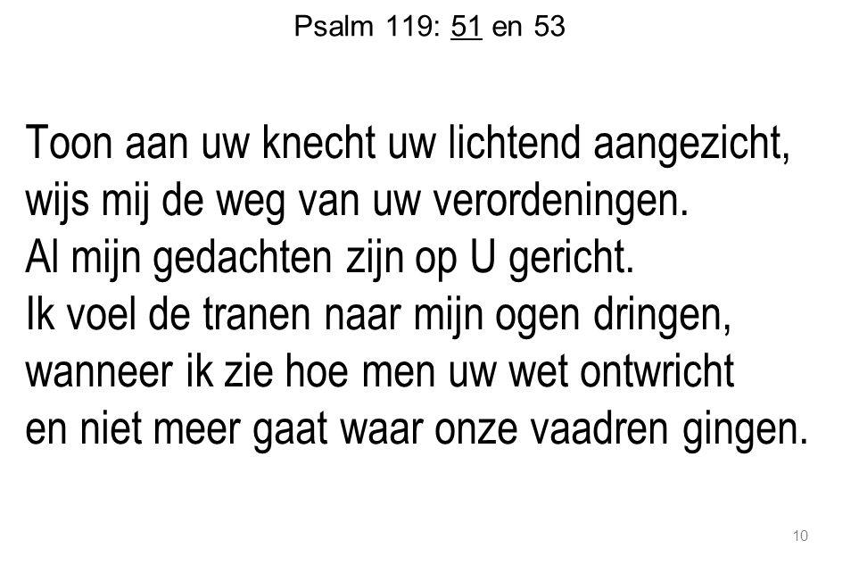 Psalm 119: 51 en 53 Toon aan uw knecht uw lichtend aangezicht, wijs mij de weg van uw verordeningen.