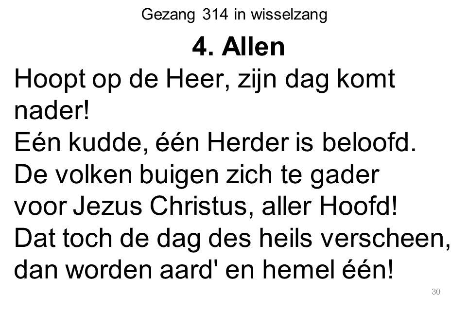 30 Gezang 314 in wisselzang 4. Allen Hoopt op de Heer, zijn dag komt nader.