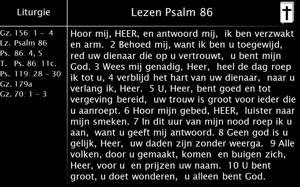 Liturgie Gz.156: 1 – 4 Lz.Psalm 86 Ps.86: 4, 5 T.Ps. 86: 11c. Ps.119: 28 - 30 Gz.179a Gz.70: 1 - 3 Lezen Psalm 86 Hoor mij, HEER, en antwoord mij, ik