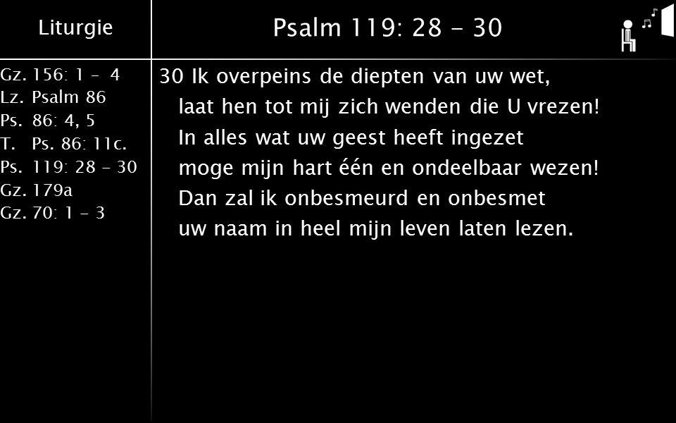 Liturgie Gz.156: 1 – 4 Lz.Psalm 86 Ps.86: 4, 5 T.Ps. 86: 11c. Ps.119: 28 - 30 Gz.179a Gz.70: 1 - 3 Psalm 119: 28 - 30 30Ik overpeins de diepten van uw