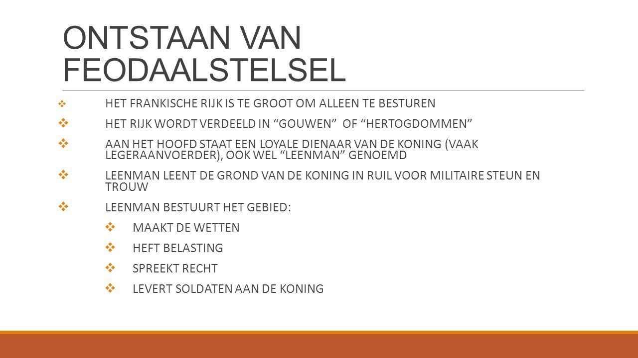 ONTSTAAN VAN FEODAALSTELSEL  HET FRANKISCHE RIJK IS TE GROOT OM ALLEEN TE BESTUREN  HET RIJK WORDT VERDEELD IN GOUWEN OF HERTOGDOMMEN  AAN HET HOOFD STAAT EEN LOYALE DIENAAR VAN DE KONING (VAAK LEGERAANVOERDER), OOK WEL LEENMAN GENOEMD  LEENMAN LEENT DE GROND VAN DE KONING IN RUIL VOOR MILITAIRE STEUN EN TROUW  LEENMAN BESTUURT HET GEBIED:  MAAKT DE WETTEN  HEFT BELASTING  SPREEKT RECHT  LEVERT SOLDATEN AAN DE KONING