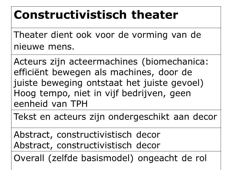 Constructivistisch theater Theater dient ook voor de vorming van de nieuwe mens. Acteurs zijn acteermachines (biomechanica: efficiënt bewegen als mach