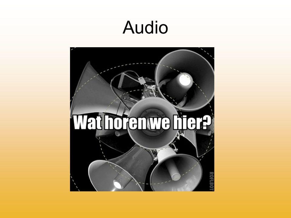Audioformaten Verschillende audioformaten, o.a.: -MP3, AAC, WMA, WAV, OGG, FLAC, midi, Raw, ATRAC,
